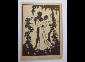 Scherenschnitt, Männer, Frauen, Rosenzeit, 1945, Liesel Baschang S. ♥ (52138)