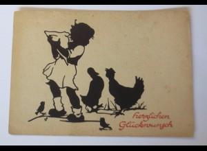 Scherenschnitt, Kinder, Hahn, Vogel, 1945, Veronika Fritsche ♥ (52136)