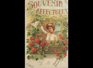 """""""Frauen, Fenster, Taschentuch, Winken, Fenster"""" 1905, Goldprägekarte ♥"""