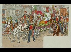 """""""Cortege de la veille du mariage"""" 1900, sig. P.Kaufmann ♥ (12918)"""
