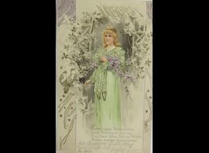 """Frauen, Blumen, Tauben"" 1903, Golddruck ♥"