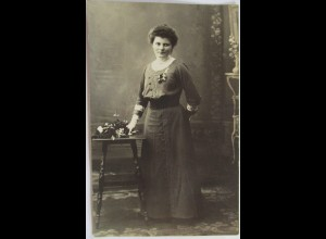 Frau Mode Kleid, Fotokarte ca. 1910 ♥ (2876)