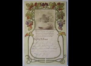 Gruss aus, Wein Weintrauben Jugendstil, Auf Ansichtskarten...,1899