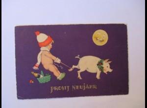 """""""Neujahr, Kinder, Schwein, Mond, Pilz, Sekt"""" 1931, Meissner&Buch ♥ (39677)"""
