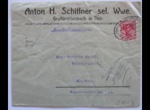 D.Reich Bahnpost Ilmenau Großbreitenbach 1916 (70608)