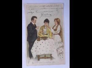 """""""Neujahr, Frauen, Männer, Mode, Bleigießen"""" 1905 ♥ (1321)"""