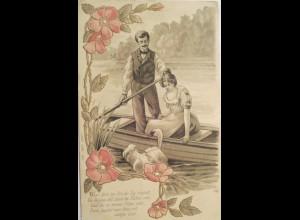 """""""Frauen, Männer, Frauen, Boot, Schwan, Blumen"""" 1900, Goldprägekarte ♥"""