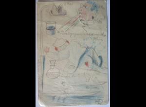 Handgemalte Karte, Chemie, betrunkene Chemiker, 1907 aus Danzig (70611)