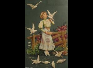 """""""Frauen, Tauben, Füttern"""" 1907, Prägekarte ♥"""