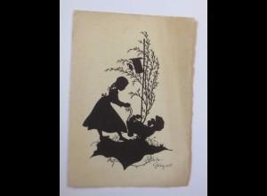 Kinder, Puppenwagen, Baum, Vogel, 1945 ♥ (52207)