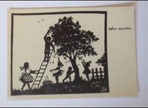 Scherenschnitt, Kinder, Wir Ernten, 1945, E.S ♥ (52205)