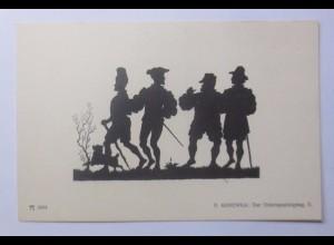 Scherenschnitt, Der Osterspaziergang, 1910, P. Konewka, Silhouetten ♥ (56853)