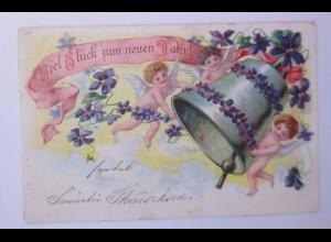 Neujahr, Engel, Glocke, Blumen, 1902 ♥ (54355)