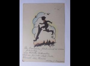 Scherenschnitt, Weihnachten, Kinder, Stiefel, 1947 ♥ (56865)