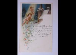 Neujahr, Engel, Kirche, Blumen, 1901 ♥ (54351)