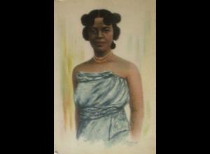 """""""Künsterkarte, Frauen, Afrikanerin, Colonial, Paris"""" 1931, L. Liezard ♥"""