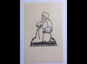 Scherenschnitt, Der Winter ist ein rechter Mann, 1936, A. M. Schwindt ♥ (56873)