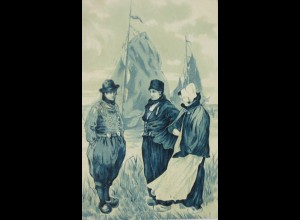 """Männer, Frauen, Holzschuhe, Schiffe, Trachten"" 1906, Prägekarte ♥"