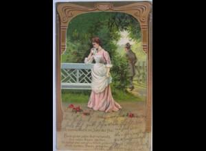 Liebe, Einmahl blüht im Jahr der Mai, Prägekarte Geiselhofen 1904