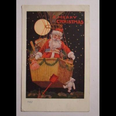 Weihnachten, Weihnachtsmann, Heißluftballon, Mond, Spielzeug, 1910 ♥ (39670)