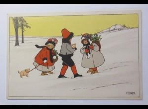 """""""Neujahr, Kinder, Mode, Misteln, Schwein"""" 1909 ♥ (45420)"""