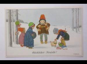 """""""Neujahr, Kinder, Schwein, Mode, Muff, Kleeblatt"""" 1920 ♥ (45425)"""
