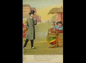 """""""Neujahr, Männer, Markt, Scherzkarte"""" 1900 ♥ (14527)"""