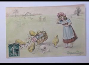 """Ostern, Kinder, Mode, Küken, Korb, Ostereier"" 1909, Munk Vienne ♥ (63046)"