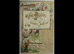 Neujahr, Zwerge, Lokomotive, Fahne 1905, Prägekarte ♥ (2364)