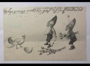 Ostern, Zwerge, Küken, Weidenkätzchen, 1912 ♥ (46445)