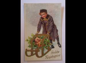 """""""Neujahr, Kinder, Schlitten, Schwein, Disteln"""" 1928, Golddruck ♥ (38617)"""
