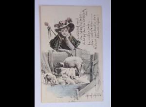 """""""Neujahr, Frauen, Mode, Hutmode, Schwein, Stall"""" 1909 ♥ (54324)"""