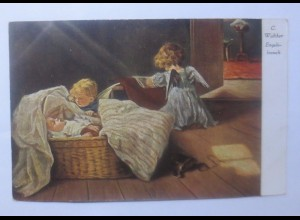 Schutzengel, Engel, Engelsbesuch 1910, C. Walther ♥ (62331)