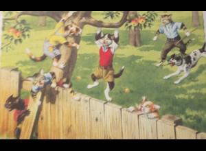 """""""Vermenschlichte, Personifizierte, Katzen, Baum, Zaun"""" 1960 ♥ (24031)"""
