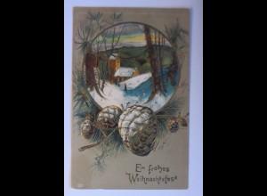 Weihnachten, Kirche, Winterlandschaft, Tannenzapfen, 1907, Prägekarte ♥ (67130)