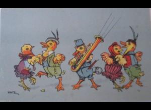 """""""Enten, Küken, Posaune"""" 1958, Vermenschlichte Tiere, sig. Hatz. ♥"""
