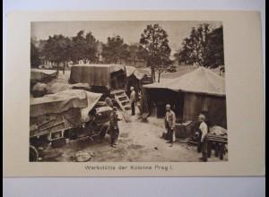 Berufe, Werkstatt, Werkstätte der Kolonne Prag I, ca. 1914