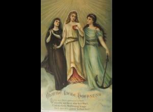 """""""Religion, Glaube, Hoffnung, Liebe, Bibel"""" 1905, Prägekarte ♥"""