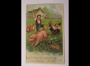"""""""Neujahr, Kinder, Schwein, Kleeblatt"""" 1916, Golddruck ♥ (38389)"""