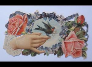 Oblaten, Rosen, Hand, Vogel, 8 cm x 5,5 cm, 1900 ♥ (65951)
