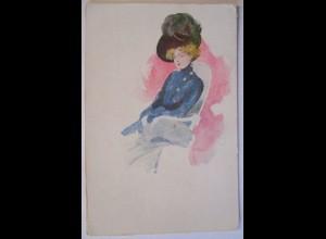 Künstlerkarte Frau Hut Hutmode, 1907 (65605)