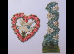 Oblaten , Vergissmeinnicht, Herz, Taube, 9,5 cm x 3 cm, Jahr 1900 ♥ (65976)