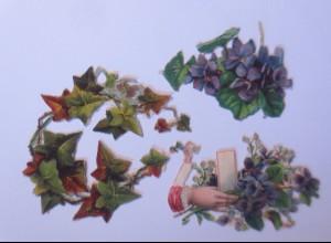 3.Oblaten, Blumen, Hand, 6 cm x 6 cm, Jahr 1900 ♥ (65981)
