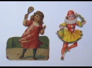 2.Oblaten, Kinder, Mode, 4 cm x 3 cm, Jahr 1900 ♥ (65986)