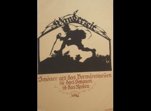 Scherenschnitt, Wanderzeit, 1930, Plischke Karte ♥ (14875)