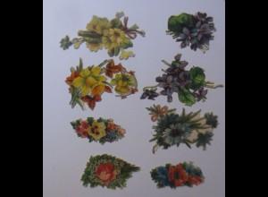 8.Oblaten, Blumen, 5 cm x 3 cm, Jahr 1900 ♥ (65988)
