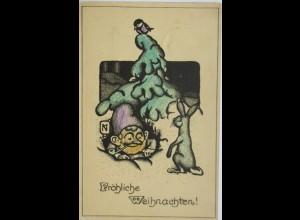 Weihnachten, Zwerg, Hase, Vogel, 1920 ♥ (5371)