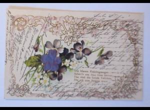 Jugendstil, Blumen, Spruch, 1900, Prägekarte ♥