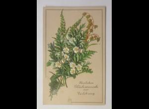 Kleine Klappkarte, Verlobung, Oblaten, 1900 ♥