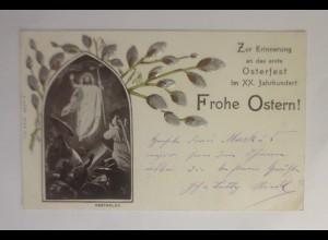 Ostern, Heilige, Erinnerung an das 1 Osterfest , 1900, Prägekarte ♥